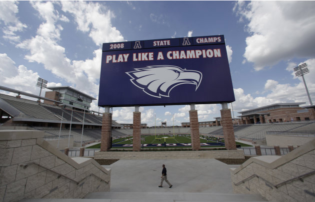 The scoreboard is shown at the new $60 million football stadium at Allen High School Tuesday, Aug. 28, 2012 in Allen, Texas. Allen High School northeast of Dallas christens the stadium Friday night wi