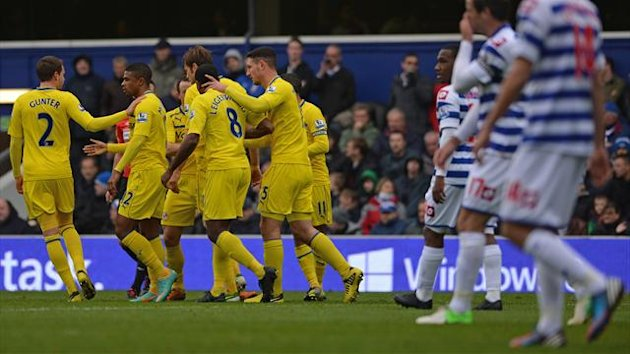 Reading celebrate their goal against QPR (AFP)