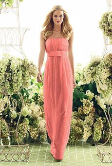 Strapless floor-length dress