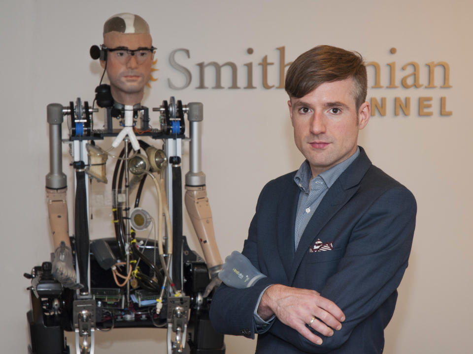 "In this Wednesday, Oct. 9, 2013 photo provided by Showtime, Bertolt Meyer, a social psychologist for the University of Zurich, poses for a photo in New York. Meyer is the face of the the Bionic Man and is featured in the Smithsonian Channel original documentary, ""The Incredible Bionic Man."" (AP Photo/Showtime, Joe Schram)"