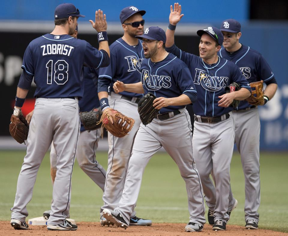 Tampa Bay Rays, from left, Ben Zobrist, James Loney, Matt Joyce, Sam Fuld and Evan Longoria celebrate after the Rays defeated the Toronto Blue Jays 7-6 in a baseball game in Toronto on Sunday, Sept. 29, 2013. (AP Photo/The Canadian Press, Frank Gunn)
