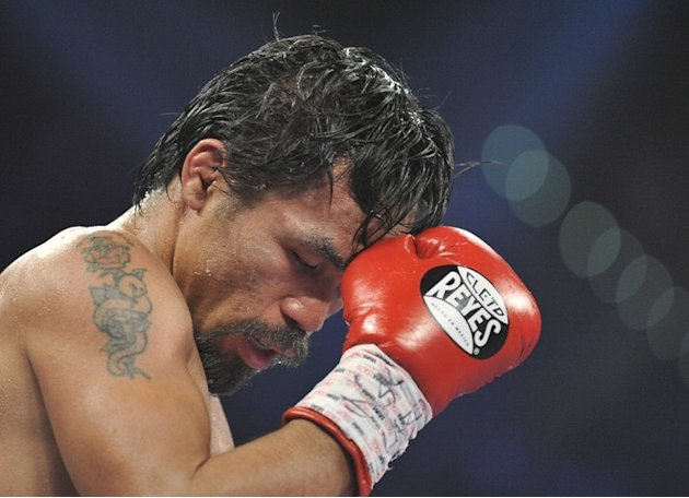 Manny Pacquiao Of The Philippines Concentrates  AFP/Getty Images