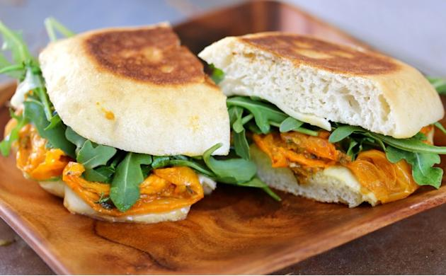 Grilled Cheese with Smoked Mozzarella, Roasted Tomatoes, and Arugula