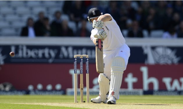England's Compton edges the ball before being caught for one run during the second test cricket match against New Zealand in Leeds