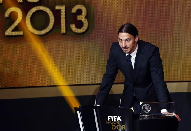 Sweden's Zlatan Ibrahimovic speaks after winning the FIFA Puskas Award for Goal of the Year during the FIFA Ballon d'Or 2013 soccer awards ceremony in Zurich