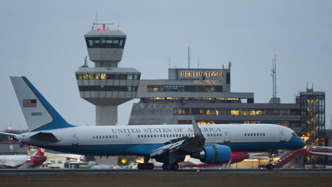 Air Force Two with U.S. Vice President Joe Biden and his wife Jill Biden onboard taxies at the Tegel airport in Berlin, Germany, Friday, Feb. 1, 2013. Biden is expected to meet with Chancellor Angela Merkel in Berlin and to attend the annual Munich Security Conference in Munich that starts later Friday. In his meeting with Merkel - his first official visit to Berlin since first taking office in 2009 - Biden is to address international issues, bilateral ties, efforts to seal a free trade deal between Europe and the U.S. and a possible visit by US President Barack Obama to Berlin.(AP Photo/Gero Breloer)