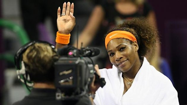 Serena Williams after defeating Daria Gavrilova of Russia at the WTA Qatar Open (AFP)
