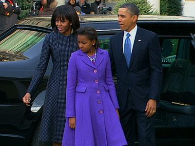 Raw: Obamas, Bidens Arrive for Church