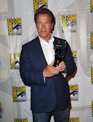 Arnold Schwarzenegger arrives at &#39;The Expendables 2 Real American Heroes&#39; Panel during Comic-Con 2012 on July 12, 2012 -- Getty Images