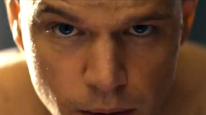 A ruggedly bald Matt Damon becomes a violent hero of the 99 percent in Elysium.