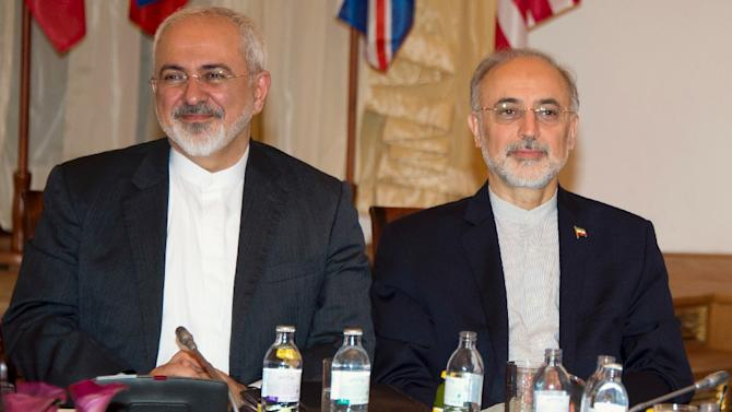 Iranian Foreign Minister Mohammad Javad Zarif (L) and the Head of the Iranian Atomic Energy Organization Ali Akbar Salehi attend a meeting at the Palais Coburg Hotel in Vienna, where the Iran nuclear talks are being held, July 6, 2015