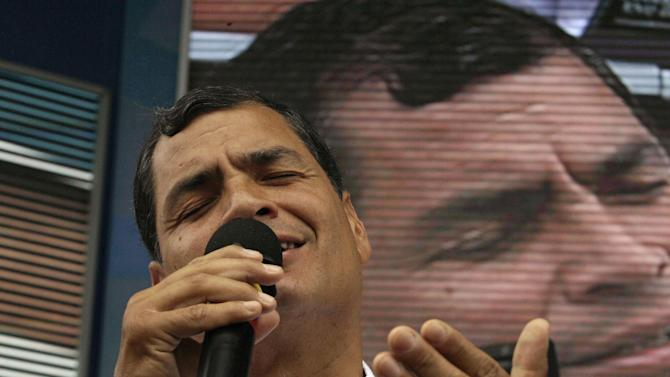 "Ecuador's President Rafael Correa sings during his weekly live broadcast ""Enlace Ciudadano,"" or ""Citizen Link,"" in Manta, Ecuador, Saturday, June 29, 2013. While the Ecuadorean government appeared angry over U.S. threats of punishment if it accepts U.S. National Security Agency leaker Edward Snowden, there were also mixed signals about how eager it was to grant asylum. (AP Photo/Martin Mejia)"