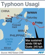 Graphic showing the forecast track of Typhoon Usagi heading towards southern Taiwan and Hong Kong on Friday