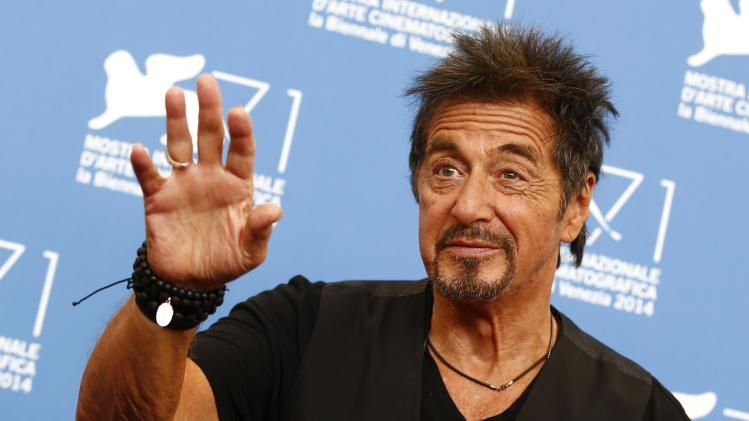 "Cast member Al Pacino poses during the photo call for his two movies ""The Humbling"" and ""Manglehorn"" at the 71st Venice Film Festival"
