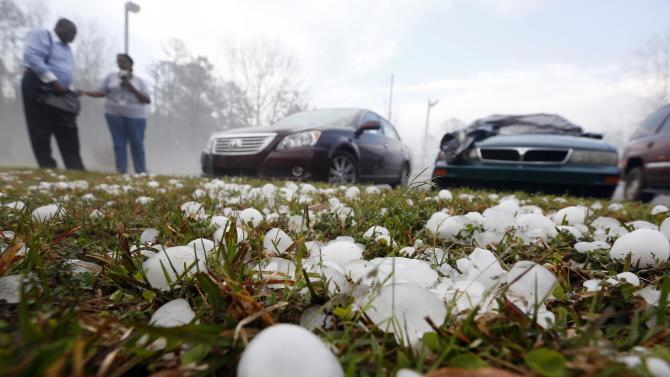 Southern states clean up after fierce hail storms