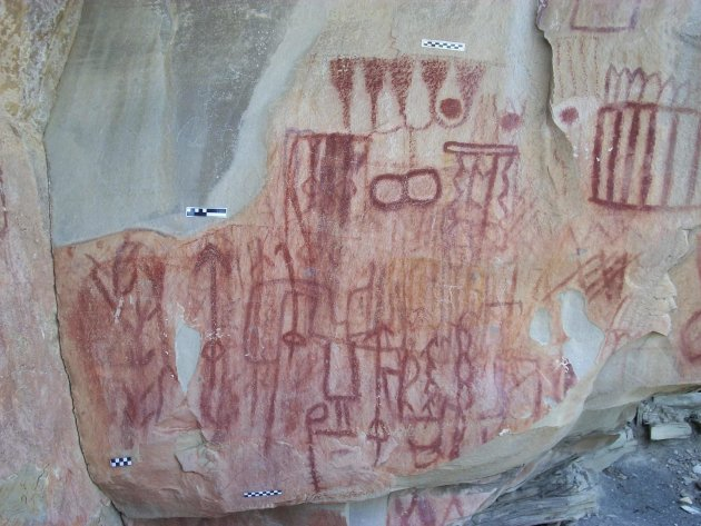 A cave painting is seen in this handout picture taken during 2011 in the Sierra de San Carlos and made available to Reuters by the National Institute of History and Anthropology (INAH)