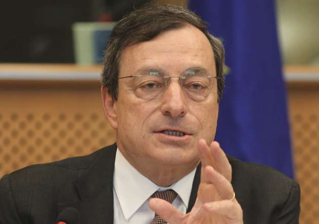 "FILE - In this May 31, 2012 file picture President of the European Central Bank Mario Draghi reports to the Economic Committee, in capacity as the head of the European Systemic Risk Board, at the European Parliament in Brussels. European Central Bank head Mario Draghi is urging eurozone leaders to move ahead quickly and put the ECB in charge of supervising banks - a key step in overcoming the continent's crisis over too much government debt. Draghi said the ECB should be permitted to start organizing its supervisory activities from Jan. 1, as laid out in the original proposals from the European Union's executive commission. Draghi is pushing back against calls by German officials for delay. Germany's finance minister Wolfgang Schaueble has said that the Jan. 1 start will slip due to the need to get the complex new setup done right, and Chancellor Angela Merkel has indicated there is no hurry on the proposals. Draghi told members of the European Parliament's monetary committee that the single banking supervisor, combined with later measures such as a common bailout fund and shared deposit insurance for people's savings, were ""three pillars that will restore confidence"" in the shaken eurozone. Together, the package is dubbed ""banking union."" (AP Photo/Yves Logghe, File)"