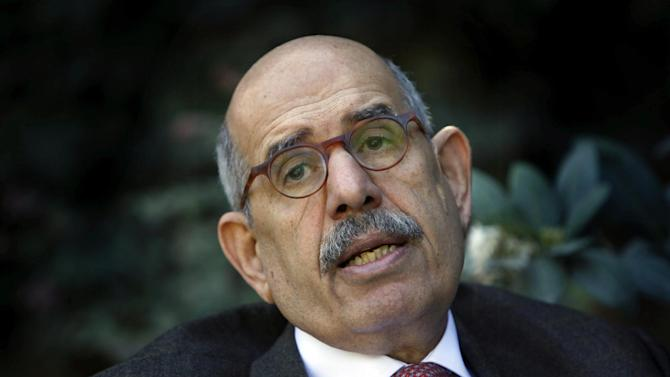 FILE - In this Saturday, Feb. 27, 2010 file photo, former U.N. nuclear chief Mohamed el Baradei talks during an interview with the Associated Press at his house in the outskirts of Cairo, Egypt. An Egyptian official says the country's top prosecutor has ordered an investigation into accusations against opposition leaders, Mohammed ElBaradei, Amr Moussa, and Hamdeen Sabahi, of incitement to overthrow the regime. (AP Photo/Nasser Nasser, File)