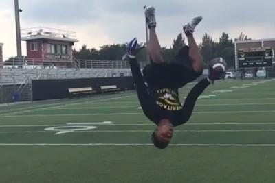 High school sophomore trends nationally with one-handed backflip catch video