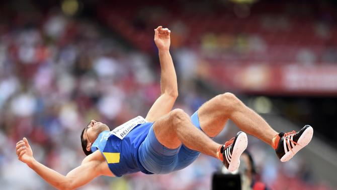 Kasyanov of Ukraine competes in the high jump event of the men's decathlon during the 15th IAAF World Championships at the National Stadium in Beijing