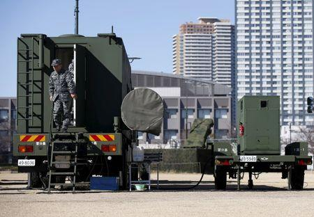 A Japanese Self-Defence Force's soldier is seen at the unit of Patriot Advanced Capability-3 (PAC-3) missiles at Defense Ministry in Tokyo