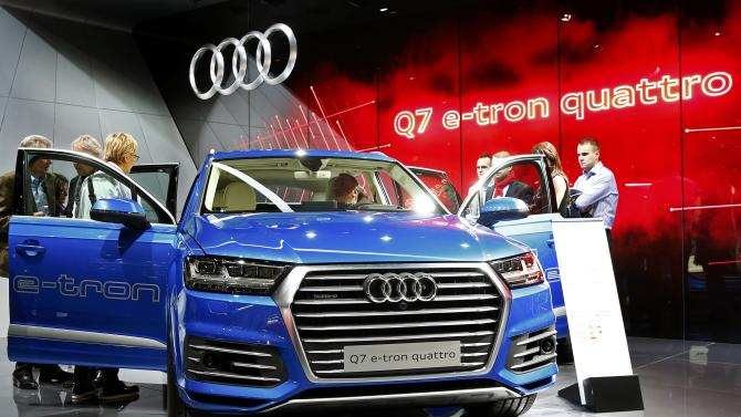 The new Audi Q7 E-Tron Quattro diesel-electric car is seen during the second press day ahead of the 85th International Motor Show in Geneva