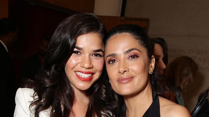"America Ferrera and Producer Salma Hayek seen at Participant Media Special Los Angeles Screening of ""Kahlil Gibran's The Prophet"" held at LACMA's Bing Theater on Wednesday, July 29, 2015, in Los Angeles. (Photo by Eric Charbonneau/Invision for Participant Media/AP Images)"