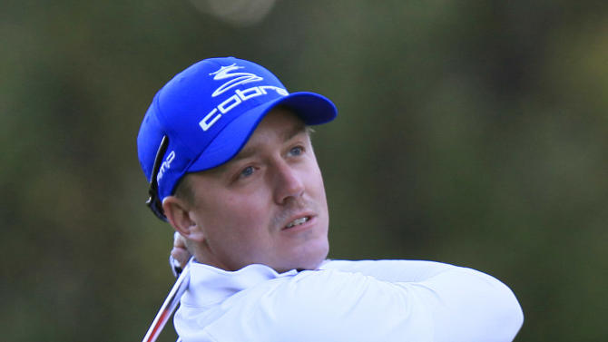 Jonas Blixt, of Sweden, hits his tee shot on the 10th hole during the first round of the Children's Miracle Network Hospitals Classic golf tournament in Lake Buena Vista, Fla., on Thursday, Nov. 8, 2012. (AP Photo/Julie Fletcher)