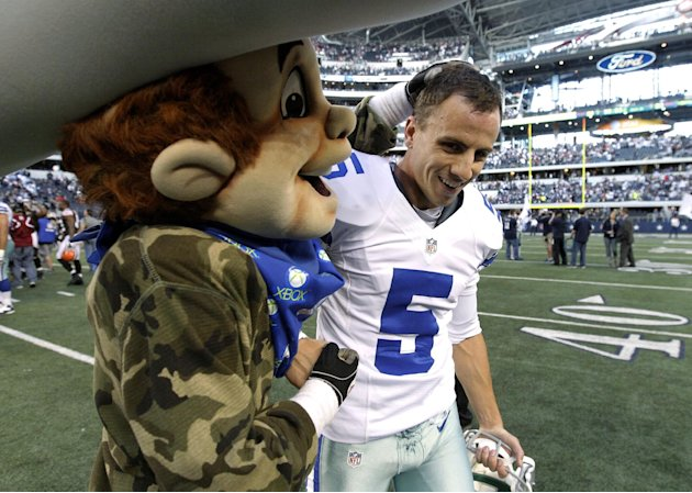 The Dallas Cowboys mascot Rowdy, left, congratulates Dan Bailey (5) on his game winning field goal against the Cleveland Browns in overtime of an NFL football game Sunday, Nov. 18, 2012 in Arlington,