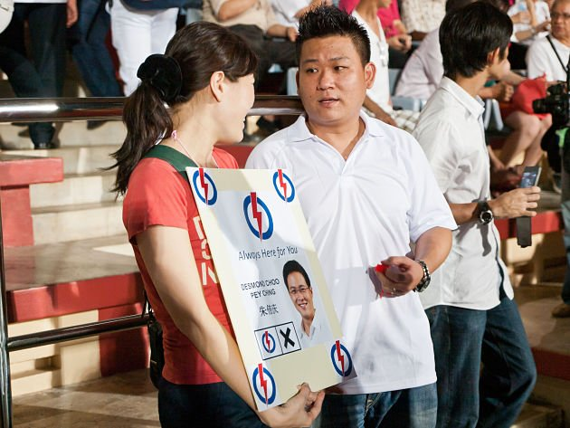 "Desmond Choo's campaign slogan reads ""Always here for you"" - a consistent message he had been repeating during the campaign and walkabouts. (Yahoo! Singapore/ Alvin Ho)"