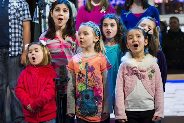 Children from Newtown, Conn. and Sandy Hook Elementary school perform &quot;Somewhere Over the Rainbow&quot; on ABC's &quot;Good Morning America&quot; on Tuesday, Jan. 15, 2013 in New York. The Children who survived last