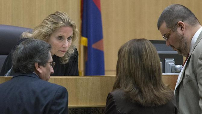 Judge Sherry Stephens listens to prosecutor Juan Martinez, left, and defense attorneys Jennifer Wilmott and Kirk Nurmi during the murder trial of Jodi Arias in Maricopa County Superior Court, on Monday, Feb 4, 2013, in Phoenix. Arias is charged with murder in the 2008 death of her boyfriend Travis Alexander. (AP Photo/The Arizona Republic, Mark Henle)