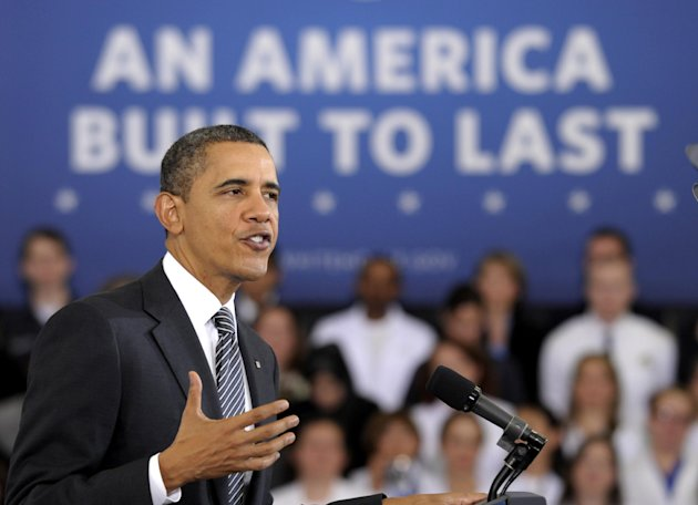 President Barack Obama speaks about the &quot;Community College to Career Fund&quot; and his 2013 budget, Monday, Feb. 13, 2012, at Northern Virginia Community College in Annandale, Va. (AP Photo/Susan Walsh)