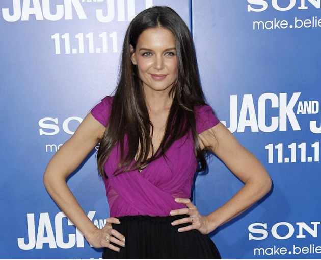 "FILE - This Nov. 11, 2011 file photo shows actress Katie Holmes at the premiere of ""Jack and Jill"" in Los Angeles.  Holmes will star in Theresa Rebeck's new play, ""Dead Accounts,"" a five character com"