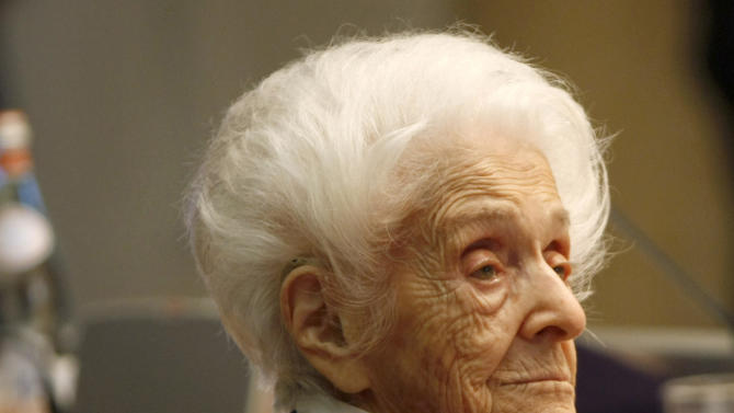FILE -- In this photo from files, taken on April 18, 2009, Italian neurologist and senator for life Rita Levi Montalcini, Nobel Prize winner for Medicine in 1986, is seen at a press conference for her one hundredth birthday, in Rome. Rome's mayor says biologist Rita Levi-Montalcini, who conducted underground research in defiance of Fascist persecution, and went on to win a Nobel Prize for helping unlock the mysteries of the cell, has died at her home in the city. She was 103. (AP Photo/Riccardo De Luca)