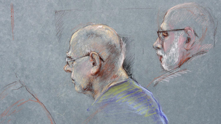 "This courtroom sketch depicts James ""Whitey"" Bulger during the first day of his racketeering trial in U.S. District Court in Boston, Wednesday, June 12, 2013. At right is defense attorney J.W. Carney, Jr. Bulger faces a long list of crimes, including extortion and playing a role in 19 killings. (AP Photo/Margaret Small)"
