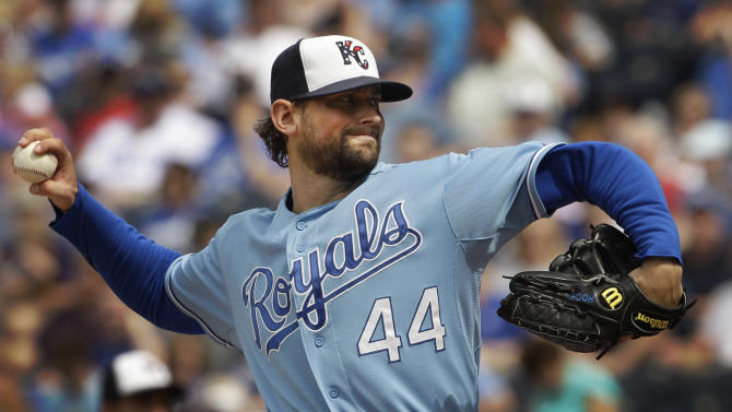 Kansas City Royals starting pitcher Luke Hochevar (44) pitches to Los Angeles Angels' Peter Bourjos during the third inning of a baseball game in Kansas City, Mo., Monday, May 30, 2011. (AP Photo/Orlin Wagner)