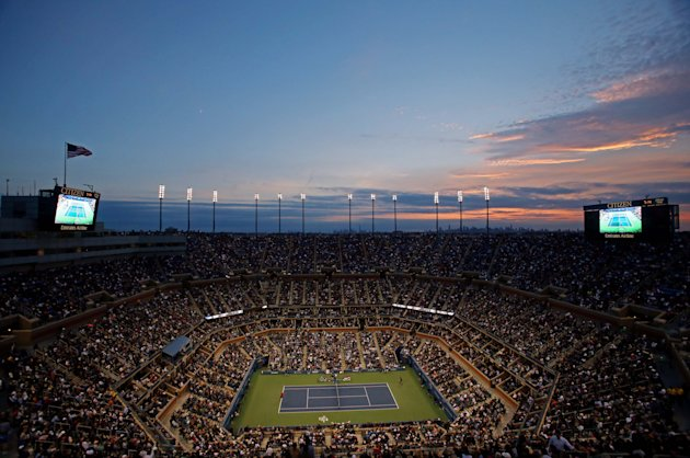 Sunset from the top of Arthur Ashe Stadium (Jerry Lai-USA TODAY Sports)