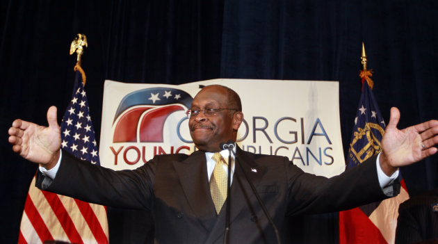 Republican presidential candidate Herman Cain speaks to the board of The Federation of Young Republicans Saturday, Nov. 12, 2011, in Atlanta. Cain has decried the media firestorm surrounding claims he sexually harassed former employees. But since the claims first surfaced Cain himself has been a constant media presence, appearing frequently on Fox News, visiting late-night talk shows and calling in to radio hosts. (AP Photo/John Bazemore)