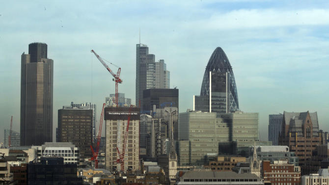 FILE - This Tuesday, Jan. 17, 2012 file photo shows a view of London's City financial district. The British economy grew by 0.6 percent in the first quarter compared with the previous three months, amid strong performances from nearly all the country's main industries. The increase in annual gross domestic product, as reported by the Office for National Statistics Thursday July 25, 2013, was double the previous quarter's rate but in line with market expectations. The UK's service, agriculture, manufacturing and construction industries all posted increases. (AP Photo/Lefteris Pitarakis, File)