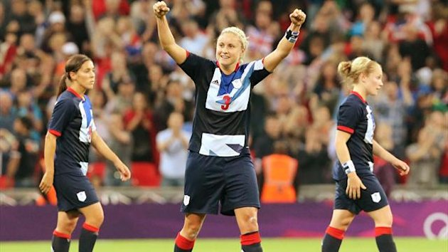 Team GB's Steph Houghton celbrates goal against Brazil