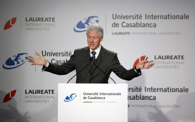 Former U.S. President Bill Clinton speaks during a news conference at the international university in Casablanca February 24, 2013 REUTERS/Stringer  (MOROCCO - Tags: POLITICS)