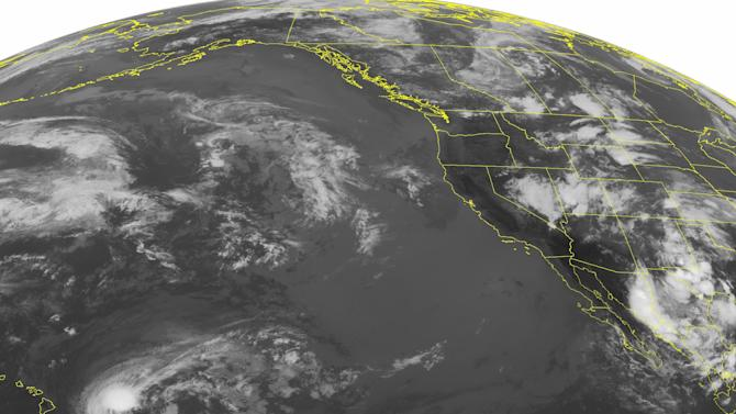 This NOAA satellite image taken Monday, July 29, 2013 at 1:45 a.m. EDT shows a stationary front across eastern Colorado, central Wyoming and into western Montana. Showers and thunderstorms are scattered across the Great Basin, and the Central/Northern Rockies. A surface trough is producing showers and a few thunderstorms over New Mexico and western Texas. Tropical Storm Flossie is approaching the Big Island of Hawaii with max winds of 60 mph. Slow weakening is forecast in the next 24 hours. (AP Photo/Weather Underground)