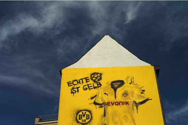 A house shows a advertising of Borussia Dortmund soccer club in Dortmund