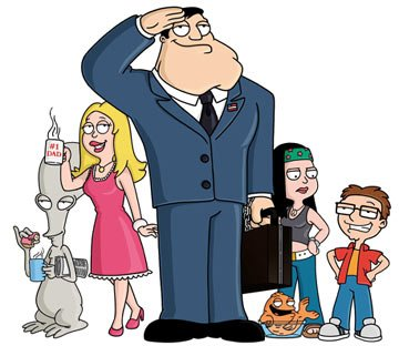 The Smith family: (L-R) Rodger, Francine, Stan, Klaus, Hayley and Steve FOX's American Dad