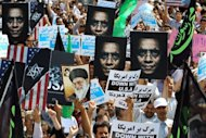 "Iranian protestors demonstrate against a film mocking Islam in Tehran on September 14, 2012. Iran announced it was yanking its entry in the Oscars race because of the ""intolerable insult"" of the US-made anti-Islam film that has angered Muslims in several countries"