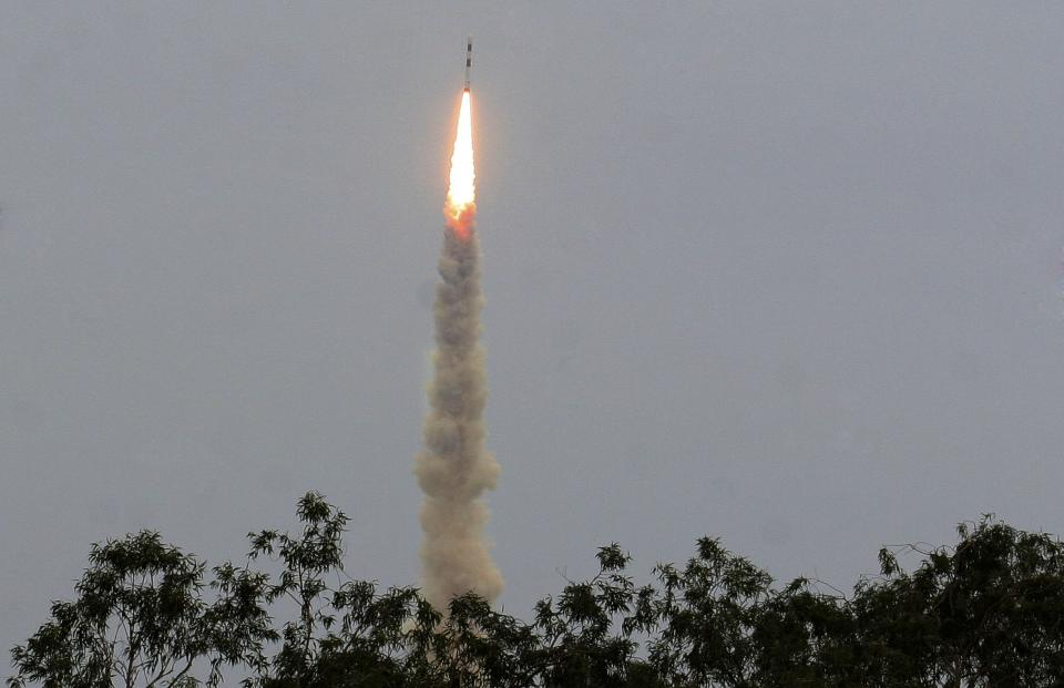India's Polar Satellite Launch Vehicle PSLVC-21 lifts off  carrying one French and one Japanese satellite from a launch pad in Sriharikota, southern India, Sunday, Sept. 9, 2012. The launch marked the 100th mission for the Indian Space Research Organization (ISRO). (AP Photo/Arun Sankar K)