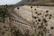 "A dried-up water canal in Eghlid highlights drought in the southern Iranian province of Fars in 2008. The drought in southern Iran is part of a ""soft war"" launched against the Islamic republic by the West, the Fars news agency quoted an Iranian vice president as saying. (AFP Photo/Atta Kenare)"