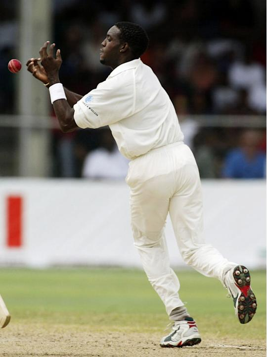 Jermaine Lawson of the West Indies drops a return catch