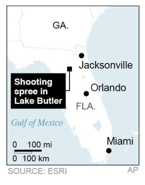 Locates Lake Butler, Fla., site of shooting spree; 1c x 2 inches; 46.5 mm x 50 mm;
